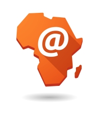 Isolated Africa continent map icon with an email sign